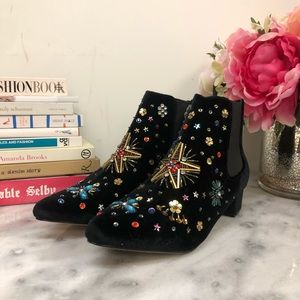 Betsey Johnson Jax Velvet Ankle Booties in Black